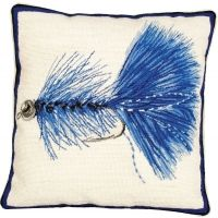 Needlepoint Blue Wooly Bugger Pillow
