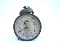 Vintage Clock Alarm Rusted Metal Green by ElmPlace on Etsy, $18.00