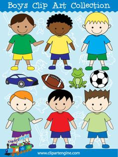 Boys Clip Art - Purchase this for only $4.99 when you repin/share. Use the offer code: SHARE Includes black and white line art.