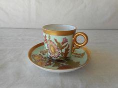 Royal Worcester Demitasse Cup & Saucer HP Flowers HP Light Blue Gold Circa 1888  | eBay