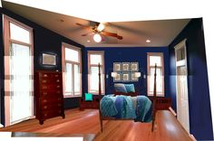 Mockup of Bedroom with Walmart Royal Empire quilt and shams.  (See other Pin)
