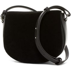 French Connection Silvia Suede Saddle Bag (160 PEN) ❤ liked on Polyvore featuring bags, handbags, shoulder bags, black, pocket purse, saddle bags, zip purse, zipper shoulder bag and suede handbags