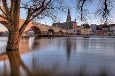 Winter Danube Flood in Regensburg