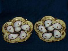 2 Belles et rares assiettes à huîtres 19éme /Wilhelm&Graef Broadway China&Glass