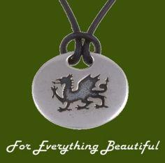 Welsh Dragon Engraved Stylish Pewter Pendant