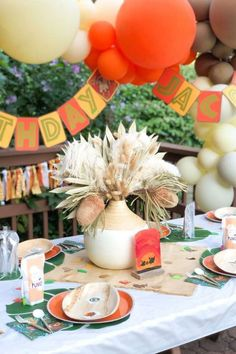 Check out this awesome Lion King birthday party! The table settings are fantastic! See more party ideas and share yours at CatchMyParty.com  #catchmyparty #partyideas #lionking #lionkingparty #boybirthdayparty #safariparty
