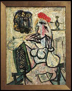 """""""Mulher Sentada com Chapéu Vermelho"""", pintura de Picasso descoberta no Evansville Museum, em Indiana, nos EUA"""