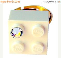 ON SALE White LEGO R brick 2x2 with a Diamond by MademoiselleAlma #MademoiselleAlma #LEGO #ETSY