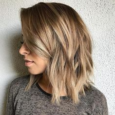 Jagged Lob with Long Side Bangs
