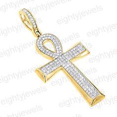 14K Yellow Gold Over .925 Sterling Silver Round Cut  White Diamond Cross Pendant #eightyjewels #CrossPendant