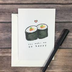 Funny Sushi Maki Pun Valentines Day Anniversary I Love You Card card for husban. - Funny Sushi Maki Pun Valentines Day Anniversary I Love You Card card for husband wife girlfriend b - Pun Card, Card Card, Valentines Day Couple, Valentine Day Gifts, Sushi Night, Sushi Love, Birthday Cards For Boyfriend, Mug Art, Romantic Dates