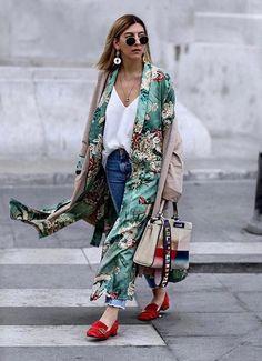 Green Floral Print Kimono Robe