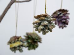 Glittered, Wax Dipped, Pinecone Christmas Ornaments - The Magic Onions