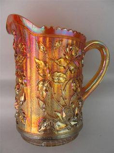 LUSTRE ROSE by IMPERIAL ~ UNMARKED MARIGOLD PERIOD CARNIVAL GLASS WATER PITCHER
