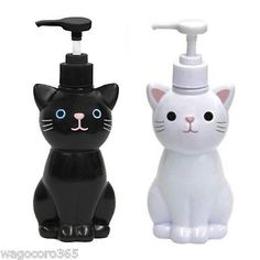 Cat Hand Soap Bottle / Pump Dispenser / White Black / Japanese Goods Cute Kawaii in Home & Garden, Bath, Soap Dishes & Dispensers | eBay