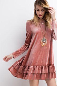 Easel Women's Long Sleeved Solid Colored Velvet Ruffled Tunic or Mini Dress (Small, Faded Teal) Velvet Dress Designs, Estilo Fashion, Looks Vintage, Muslim Fashion, Beautiful Dresses, Gorgeous Dress, Designer Dresses, Marie, Short Dresses