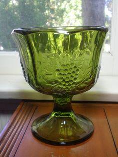 1970's Footed Grape Vase Deep Olive Green by VintageJunkDrawerToo, $28.00