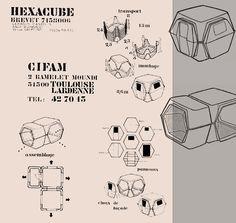 """L'Hexacube - Georges Candilis , Anja Blomstedt """"L'Hexacube"""", cellule préfabriquée en plastique 1968-1975."""