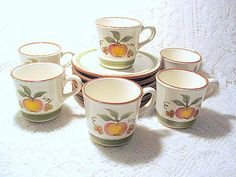Stangl pottery Apple delight lot of six by ThePeddlersDaughter