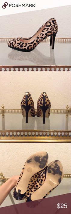   sale   Ivanka Trump Calf Hair Leopard Heels Great condition. These have been worn, so there is wear on the bottom soles. The calf hair is in great condition, there is no thinning. The heels have no scuffs or scratches. Gorgeous leopard design with black wooden heels. About 3 inches high. Questions are welcome Ivanka Trump Shoes Heels