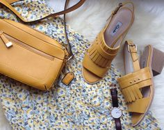 Clarks summer sandals - floral dresses, floral print, high heeled sandals, shoulder bags, summer style, yellow bag