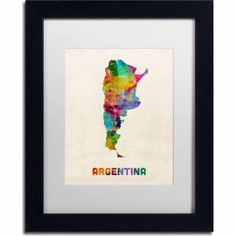 Trademark Fine Art Argentina Watercolor Map Canvas Art by Michael Tompsett, White Matte, Black Frame, Size: 16 x 20