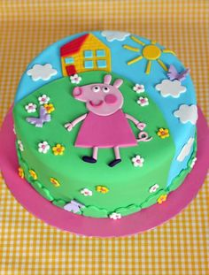 butter hearts sugar: Peppa Pig Birthday Cake