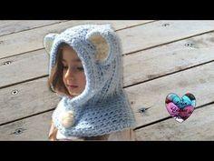 Bonnet capuche crochet toutes tailles / Bear hooded beanie crochet all sizes (english subtitles) - YouTube