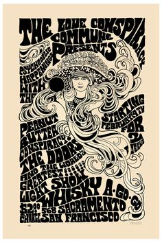 Psychedelic: Jim Morrison & The Doors at San Francisco Concert Poster Circa 1967