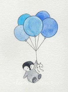 Penguin and balloons drawing
