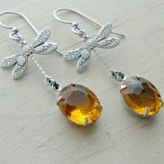 Dragonfly Jewelry Dragonfly Earrings Topaz Dragonflies Summer Jewelry Summer Earrings Nature Jewelry Woodland Creatures Amber Topaz by pink80sgirl on Etsy