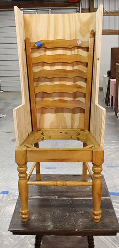 Wing-back Conversion of a thrifted chair - in progress pic from acornercottageonline