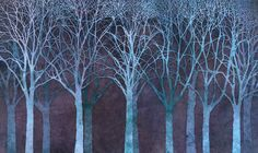 Birch Grove Night Blue - Fototapeter & Tapeter - Photowall