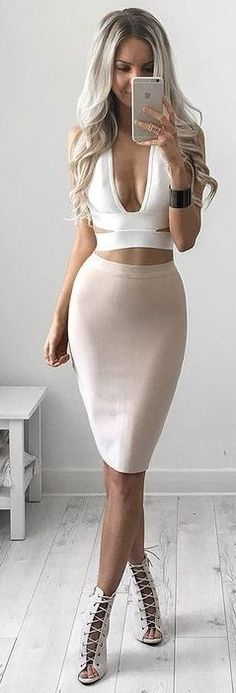 #summer #kirstyfleming #outfits | White Bandage Crop + Nude Midi Skirt