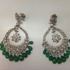 Diamond and emerald earrings Regram from Instagram
