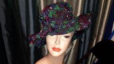 Vintage  velvet flocked blue and purple hat vintage 1960 mr
