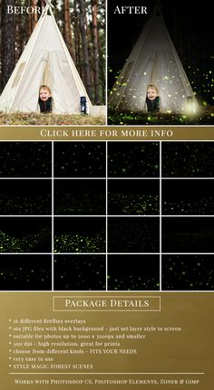 Fireflies photo overlays for Photoshop, PSE, Zoner & Gimp. 16 different kinds of fireflies - great for outdoor minis with kids. Photoshop Tutorial, Photoshop Overlays, Photoshop Effects, Photoshop Design, Photoshop Elements, Photoshop Actions, Photoshop Light, Photoshop Filters, Firefly Photography