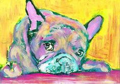 French Bulldog art Print,Yellow, Green, Pink Frenchie Dog, Colorful ... #dog #art… visit oscarjetson.com to see cool dog art oscarjetson.com