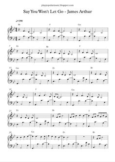 Free piano sheet music: Say You Wont Let Go-James Arthur.pdf I'll thank my lucky stars for that night. I met y...