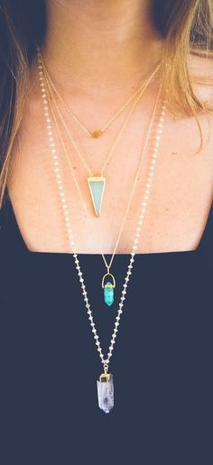 Quartz layered necklaces