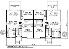 Up down search results familyhomeplans duplex house for Up down duplex floor plans