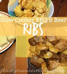 Slow Cooker BBQ & Beer Ribs are easy to prepare and are ready for meal time. Rib Recipes, Grilling Recipes, Slow Cooker Recipes, Real Food Recipes, Crockpot Recipes, Great Recipes, Amazing Recipes, Delicious Dinner Recipes, Delicious Food