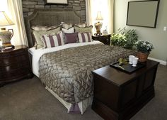 Bedroom Features a Stone Brick Wall