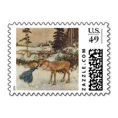 Vintage Gerda and the Reindeer by Edmund Dulac Postage