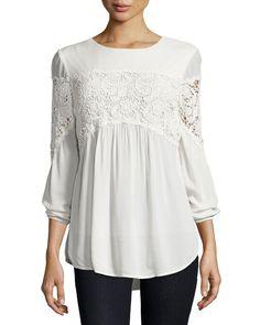 3b82da371bf5e8 Aubree Floral-Crochet Top Bishop Sleeve, Top Designers, Tankini, Crochet Top ,