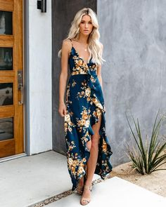 a718d02eafa PREORDER - Capriccio Satin Floral Ruffle Maxi Dress – VICI Floral Maxi