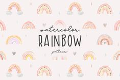 Hello! This my collection of hand-drawn watercolor rainbows. These patterns perfect for baby cloth, fabric, wallpaper, home textile, baby nursery, babies shower, invitations cards, kids room