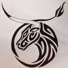 Tribal Taurus Tattoo Design Idea