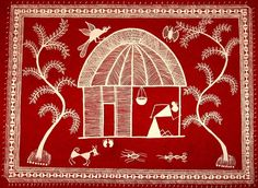 Hut: Warli painting of a hut done on handmade paper using poster paint. Aparna Bhandar
