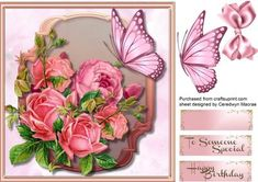Beautiful Salmon Roses in a Gold Plaque  on Craftsuprint designed by Ceredwyn Macrae - A lovely card to make and give with Salmon roses in a Gold Plaque a lovely card has two greeting tags and a blank one for you to choose the sentiment,  - Now available for download!